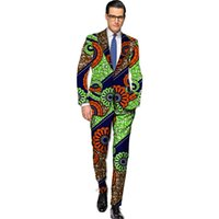 Wholesale Tailor S - Wholesale- African blazers and trousers men fashion africa print dashiki suits business edition slim fit blazer+pant set tailor made