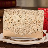 Wholesale Champagne Favors For Wedding - New Champagne Floral Laser Cut Wedding Invitations Table Card Seat Card Place Card For Wedding Favors And Gifts 100pcs DHL Free Shipping