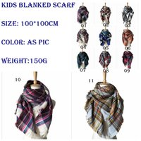 Wholesale Winter Muffler Kids - Kids Plaid Scarves Baby Striped Tassels Scarf Tartan Scarf Wraps Fashion Neckerchief Winter Shawl Ring Muffler Accessories Blankets YYA572