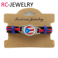 Wholesale National Direct - 14# Factory direct hand-made leather bracelet Puerto Rico National flag fashion jewelry explosion men's leather bracelet
