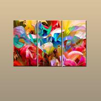 soyut panel tuvali baskılar toptan satış-En iyi Hediye 3 Panel Modern Sanat Duvar Giclee Baskı Oturma Odası Ev Dekor Için Renk Çiçek Soyut resim Tuval Üzerine Basık HD Resim