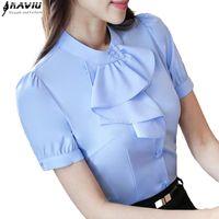 Wholesale Office Wear Blouses - New elegant Ruffles shirt women OL formal slim stand collar short sleeve chiffon blouse office ladies work wear plus size tops