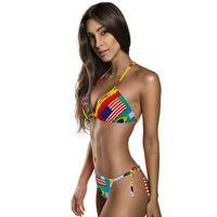 Wholesale Halter Candy - Sexy candy Bikini Swimwear Women Swimsuit New Brazilian Bikini Set Printed Halter Top Beach wear Bathing Suits