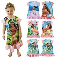 Wholesale New Princess Baby Dress - New baby girls Trolls Beauty and the beast dress cartoon Moana printing Princess dresses Kids Clothing 13 colors C1901