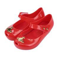 Wholesale Metal Buckle Bow Shoes - 13-18cm Mini Melissa Girls Sandal 2017 3 Color Metal Bows Children Shoes Girls Anti-Skid