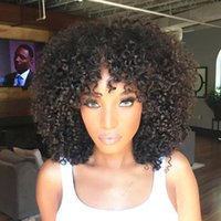Wholesale Curly Lace Wigs Bangs - Peruvian Virgin Human Hair Full Lace Wig Afro Kinky Curly Lace Front Wig With Full Bangs Glueless Curly Human Hair Wig