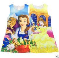 Wholesale Sundresses For Kids - Cartoon Belle Princess Dress 2017 Summer Beauty and the Beast Dress for Kids Birthday Party Dress Kids Gifts Princess Belle Costume Sundress