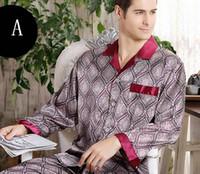 Wholesale Wholesale Pajamas For Men - B501Men Silk Sleepwear Long Sleeve Long Pants two-piece suit sleepwear spring thin silk pajamas set for man L XL 3XL 4XL free ship mix order