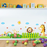 Wholesale Removable Rainbow - Rainbow Sun Cloud Flowers Garden Fence Cartoon Animals Wall Stickers for Kids Babies Room Nursery Wall Decor Wall Border Wallpaper Poster