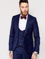 Wholesale Men S Ties Navy White - Wholesale- Center Vent Groomsmen Shawl Lapel Groom Tuxedos Navy Blue Men Suits Slim Fit Wedding Best Man Blazer (Jacket+Pants+Vest+Tie) C53