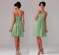 Wholesale Cheap Cocktail Dresses For Weddings - Short Cheap Chiffon Bridesmaid Dresses for Wedding Guest Party Girls Straps with Sweetheart Neck Pleated Knee Length Cocktail