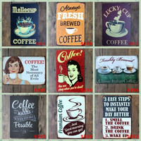 Wholesale coffee wall art stickers - Smell and Drink Coffee Vintage Craft Tin Sign Retro Metal Painting Antique Iron Poster Bar Pub Signs Wall Art Sticker(Mixed designs)
