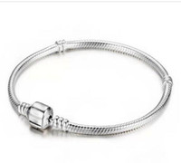 Wholesale Pandora Barrel Clasp - 3mm 16-23cm 925 Silver Plated Bracelet Snake Chain with Barrel Clasp Fit European Beads Pandora Bracelets DIY with logo
