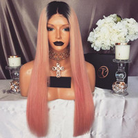Wholesale 1b Pink Human Hair - Diosa Fashion 1B Pink Color Full Lace Wig Glueless Virgin Hair Lace Front Human Hair Wigs With Natural Hairline Pink Lace Wigs
