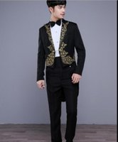 Wholesale Host Club - (jacket+pants) 2017 new male suit embroidery tuxedo tailcoat jacket blazer set singer team costumes Magician host club prom show stage wear