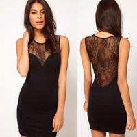 Wholesale Cheap Black Lace Tank Top - Wholesale- 2016 Women Sexy Black Bodycon Dresses Ladies Sexy Club Tank Tops Dress Summer Lace Backless Sheath Dress Women's Clothing Cheap