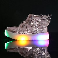 Wholesale Canvas Shoes Wings - EU21-36 Children Shoes With Light New Fashion Glowing Sneakers Boys Little Girls Shoes Wings Canvas Flats Spring Kids Light Up Shoes