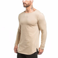 Wholesale Shirts Muscle Fit - New Brand Design Slim Fit gyms Men's Long Sleeve T-shirts Muscle Elasticity Fitness T-shirt free shipping