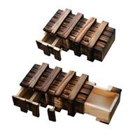 Wholesale wholesaler wooden iq toys - 50pcs lot dual magic IQ box Magic gift box magic box- Wooden Brain Teaser Puzzle Toy DHL OR FEDEX Free