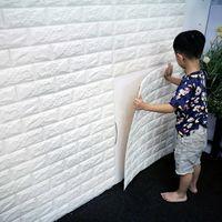 Wholesale Plastic Sound Effects - PE Foam red 3D Wall paper Safty Home Decor Wallpaper DIY Wallpaper Brick Living Room Kids Bedroom Decorative Sticker