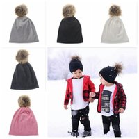 Wholesale Knitted Christmas Hats For Baby - Winter Girls Boys Hats Fur Pom Pom Beanies Cotton Cap For Baby Winter Knit Hats With Fur PomPom Thick Warm Hats YYA388