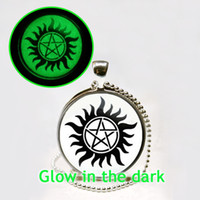 Wholesale Dean Winchester Pendant - Glow in the Dark Necklace Supernatural Sam Dean Winchester necklace Supernatural jewelry glass cabochon necklace glowing jewelry