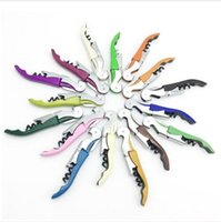 Wholesale Folding Hinges - Multi-function Folded Wine Corkscrew Stainless Steel Bottle Can Opener Knife Pull Tap Double Hinged Corkscrew Creative Promotional Gifts