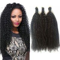 Wholesale Afro Kinky Hair Bulk - Afro Kinky Curly Human Braiding Hair Bulk Brazilian 3 Bundles Natural Color Bulk Human Hair Extensions GEASY