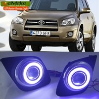 Wholesale Led H11 55w - eeMrke COB Angel Eyes DRL For Toyota RAV4 2009-2012 Fog Lights H11 55W Halogen Bulbs Daytime Running Lights Kits
