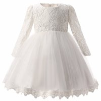 Wholesale Party Dress For Baby Winter - For Girls Clothes 0-2 Year Birthday Party White Baby Girl Dress Wedding kids clothing New Fashion Flower Lace Newborn Infant tutu Dress