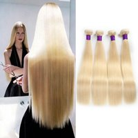 Wholesale Tangle Shed Free Human Hair - 7A Brazilian Blonde Straight Hair Weave 100% Human Hair Blonde 613# Color Double Weft No Shedding Tangle Free Can Be dyed 3Bundles lot