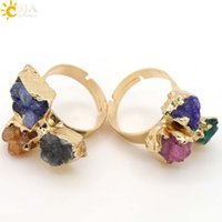 Wholesale Three Finger Ring Women - CSJA Special Power Natural Three Stone Finger Rings Reiki Chakra Healing Stones Beads Gold Plated Women Lover Party Jewelry Irregular E098