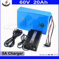 Wholesale Electric Battery For Bike - Lithium Rechargeable Battery 60V 20Ah Electric Bike Battery 60V For 2000W Motor With 5A Charger Built-in 50A BMS Free Shipping