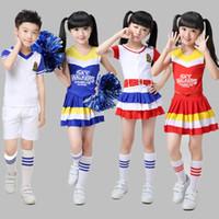 Wholesale Kids Carnival Clothing - S-XL Kids American Cheerleader Baseball Basketball Costumes Set Dance Play Girls Boys Clothing Carnival Red Sleeveless T-Shirts + Mini Skirt