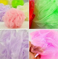 Wholesale spa bath cleaning - Wholesale New Mesh Colorful nylon bath flower Bathing Spa Shower Scrubber wash bath ball Colorful Bath Brushes Sponges 8g I002