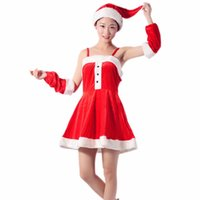 Wholesale Strapless Bunny Costume - 2016 Pleuche Material Take Sexy Bunny Costumes Santa Put Nightclub Bar DS Party Clothes Red Christmas Clothing for Women