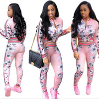 Wholesale Sportwear For Women - Autumn Suit-dress Printing Long Sleeve women cardigan sports sportwear woman hoodies sets Printed tops Print tracksuit for jogging clothes