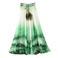 Wholesale Newly Bohemian Women High Waist Skirt Chiffon Long Harajuku Summer Vintage Elegant Saia Beach Longa Tutu Casual Femme Maxi Skirts