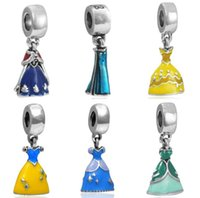 Wholesale European Beads Dangle Charm - Wholesale 30pcs Belle Princess Cinderella Ariel Elsa Princess Ann Skirt Fits Pandora Jewelry Bracelets DIY Charms Europen Dangle Charm Bead