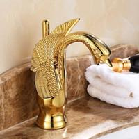 luxus gold messing wasserhähne großhandel-Großhandels-Gold-Finish Luxus Swan Form Messingbecken Waschbecken Wasserhahn Bad Single Loch Centerset Waschtischarmatur