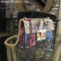 Wholesale Shoulder Chain Accessories - Europe&American leather Cross body Women block colors serpentine 20cm small shoulder bags Original leather and hardware matched accessories