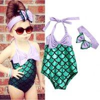 Wholesale Girls Purple Swimming - Girls Kid Mermaid Swimmable Bikini Swimwear Swimsuit Swimming Headband Costume toddler girl clothes bikini for children girls