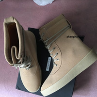Wholesale Thick Sole High Heel Boots - 50% Discount Kanye West Season 2 Top Quality Suede Leather Snow Thick Soled Men High Boots 350,350 v2,750 boost