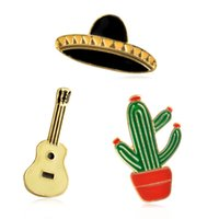 Wholesale China Jeans Free Shipping - 3pcs set Cartoon Mexico cactus Guitar Hat Metal Brooch Pins Button Pins Jeans Bag Decoration Gift DHL Free Shipping