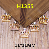 Wholesale Crowns For Decor - Wholesale-Wholesale 100PCS Flatback Gold Tone Alloy Princess Crown Button Patch Stickers Fit for Handmade Craft Girls Hair Jewelry Decor