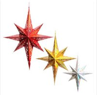 Wholesale Christmas Star Lampshade - Paperboard Three Dimension Eight-Pointed Star Shaped Lampshade Decorative Accessories For Navidad Hotel Party Hanging Lantern