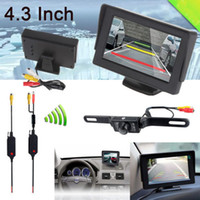 "Wholesale Low Price Camera Monitor - Promotion, High quality, low price 4.3"" LCD Screen Car Rear View Backup Mirror Monitor + Wireless Reverse Camera Kit"