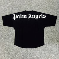 Wholesale pocket angels - PALM ANGELS Logo Print Boxy T-shirt Men T-shirt Printed Slogan Tshirt Poleras Hombre Short Sleeves Tee Cotton Tees Crewneck T Shirt sup