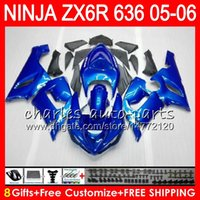 Wholesale Kawasaki Fairings Kits - 8Gifts 23Colors Bodywork For KAWASAKI NINJA ZX-636 ZX-6R 05-06 600CC gloss blue 27HM10 ZX 636 ZX 6R 2005 2006 ZX636 ZX6R 05 06 Fairing kit