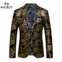 Wholesale Mens Embroidered Wedding Suits - Wholesale- 2017 Gold Blazer For Luxury Mens Floral Embroidered Blazer Stage Costumes For Singers Slim Fit Wedding Prom Blazers Suit Jacket